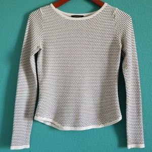 {Ann Taylor} Black & White Long Striped Sweater